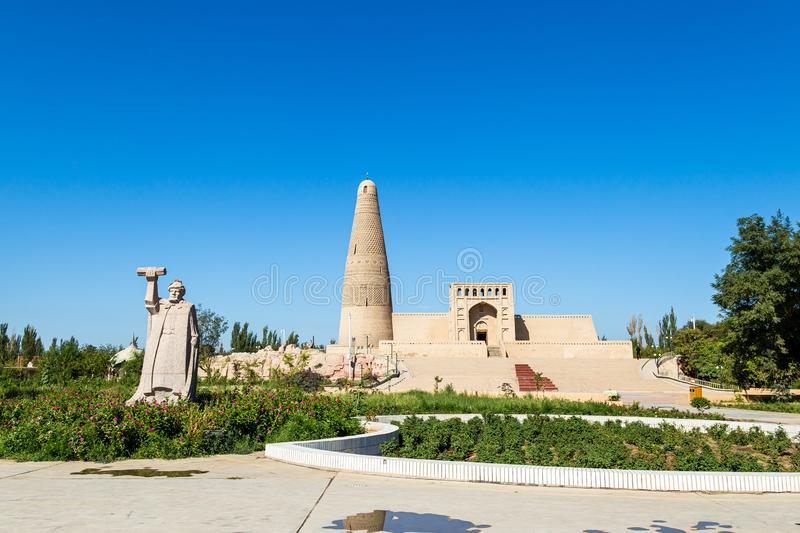 Emin minaret, or Sugong tower, in Turpan, is the largest ancient Islamic tower in Xinjiang, China. Built in 1777, its grey bricks form 15 different patterns royalty free stock images