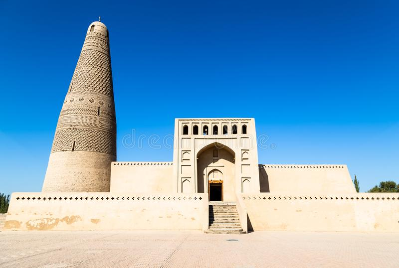 Emin minaret, or Sugong tower, in Turpan, is the largest ancient Islamic tower in Xinjiang, China. Built in 1777, its grey bricks form 15 different patterns royalty free stock photos