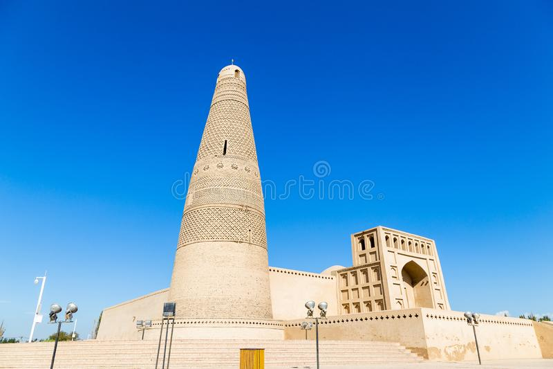 Emin minaret, or Sugong tower, in Turpan, is the largest ancient Islamic tower in Xinjiang, China. Built in 1777, its grey bricks form 15 different patterns stock photo