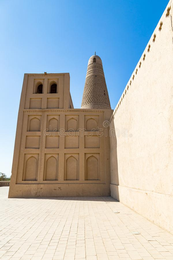Emin minaret, or Sugong tower, in Turpan, is the largest ancient Islamic tower in Xinjiang, China. Built in 1777, its grey bricks form 15 different patterns stock photography