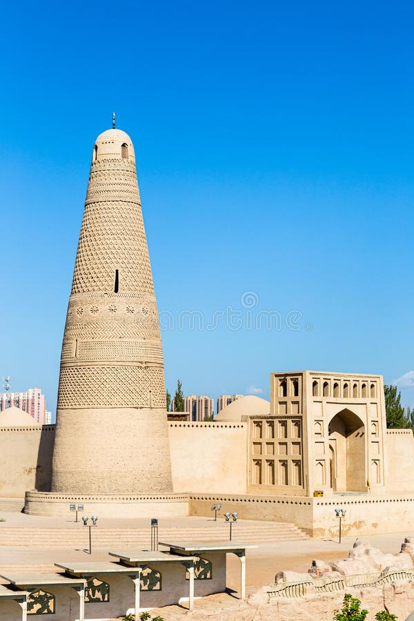 Emin minaret, or Sugong tower, in Turpan, is the largest ancient Islamic tower in Xinjiang, China. Built in 1777, its grey bricks form 15 different patterns royalty free stock photo