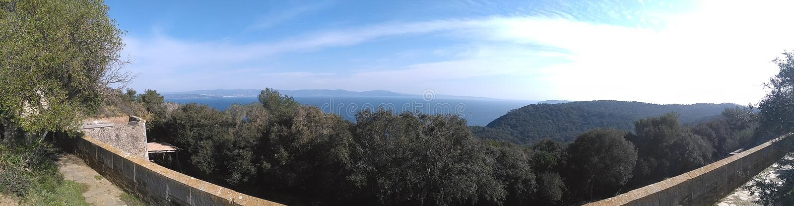 Eminence view. Panoramic view from Eminence fort on Port-cros stock photo