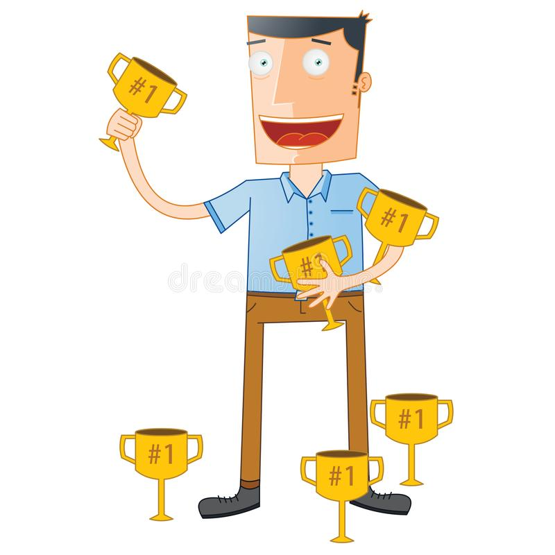 Eminente Student Hold Trophies vector illustratie