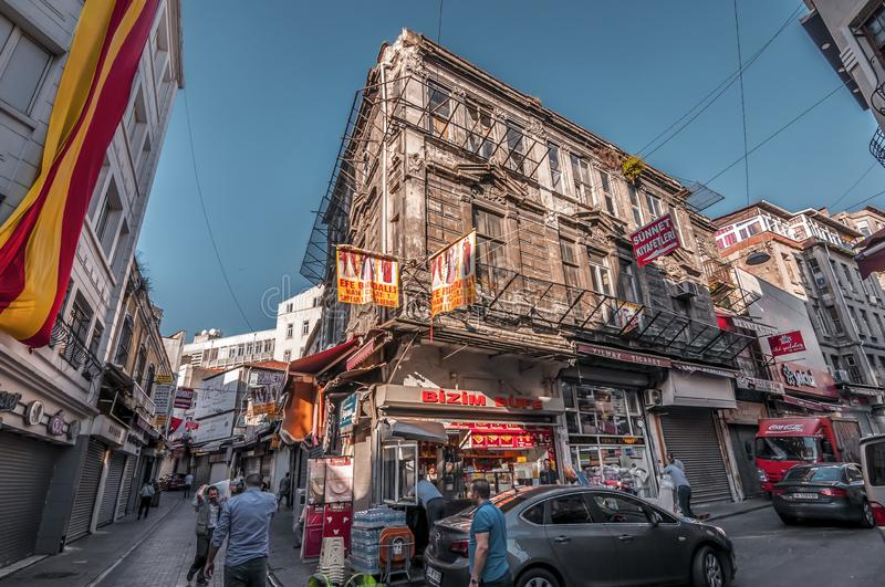 Eminonu, Istanbul. Istanbul, Turkey - June 27, 2019: Street view from Eminonu, Istanbul`s most touistic and crowded area with historical landmarks, cafes royalty free stock photo