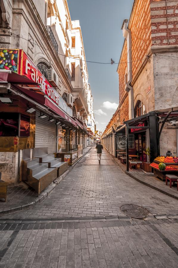 Eminonu, Istanbul. Istanbul, Turkey - June 27, 2019: Street view from Eminonu, Istanbul`s most touistic and crowded area with historical landmarks, cafes royalty free stock photos