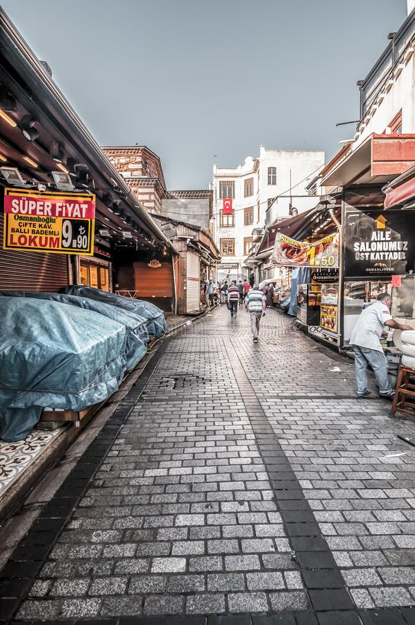 Eminonu, Istanbul. Istanbul, Turkey - June 27, 2019: Street view from Eminonu, Istanbul`s most touistic and crowded area with historical landmarks, cafes royalty free stock images