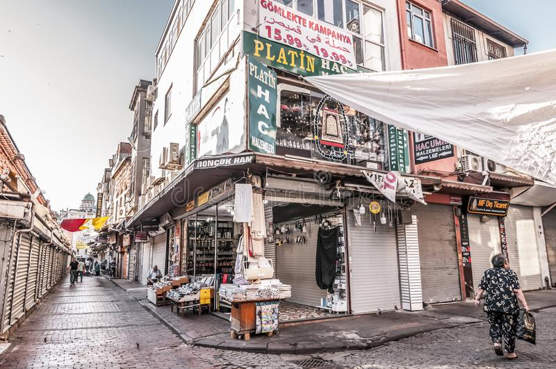 Eminonu, Istanbul. Istanbul, Turkey - June 27, 2019: Street view from Eminonu, Istanbul`s most touistic and crowded area with historical landmarks, cafes royalty free stock photography