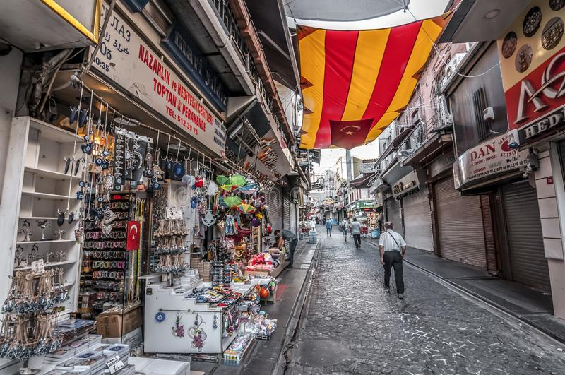 Eminonu, Istanbul. Istanbul, Turkey - June 27, 2019: Street view from Eminonu, Istanbul`s most touistic and crowded area with historical landmarks, cafes stock photos