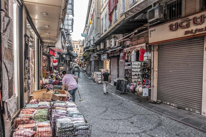 Eminonu, Istanbul. Istanbul, Turkey - June 27, 2019: Street view from Eminonu, Istanbul`s most touistic and crowded area with historical landmarks, cafes royalty free stock image