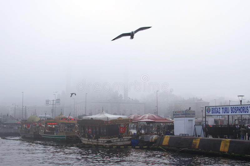 Download Eminonu square in fog editorial photography. Image of istanbul - 17128997