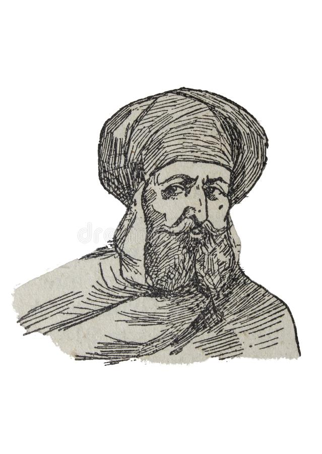 Emir Abd-ar-Rahman portrait, founder of Umayyad dinasty. Badajoz, Spain - Jan 6th, 2019: Emir Abd-ar-Rahman portrait, founder of Umayyad dinasty. Draw from book vector illustration