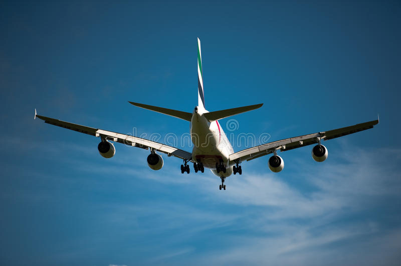 Emirates A380 on approach stock images