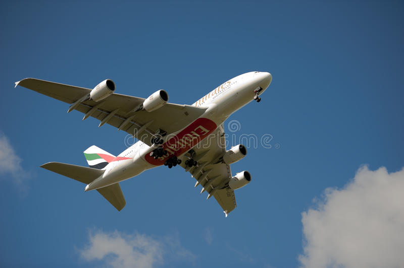 Emirates A380 on approach