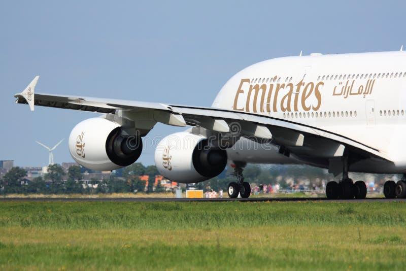 Emirates A380 takeoff royalty free stock photo