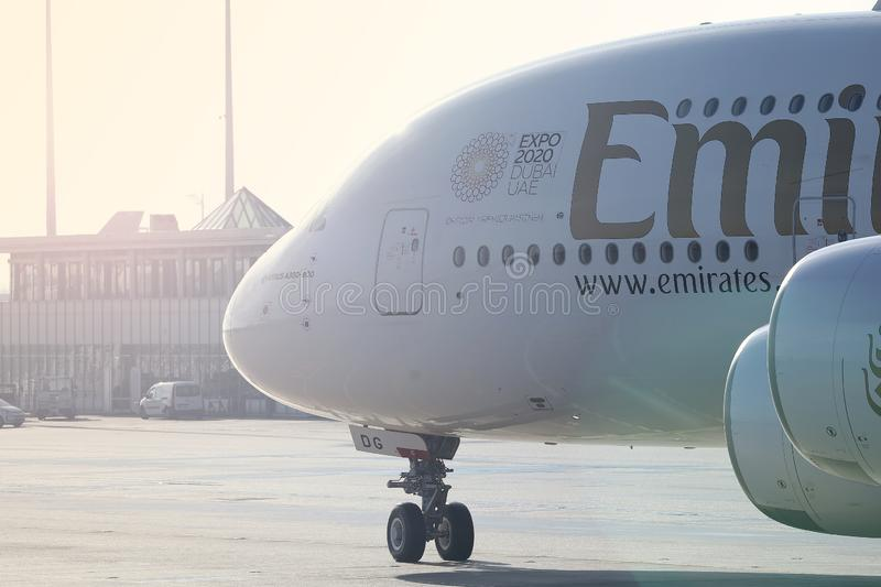 Emirates Airbus A380, close-up view of cabin crew stock photo