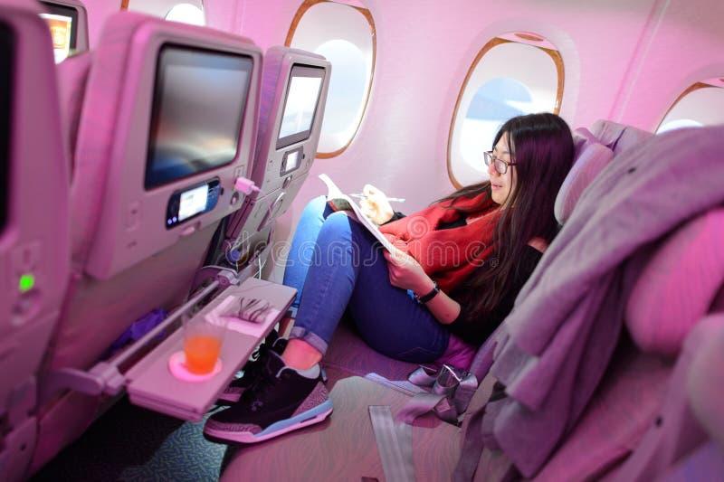 Emirates Airbus A380 economy class passenger stock photos
