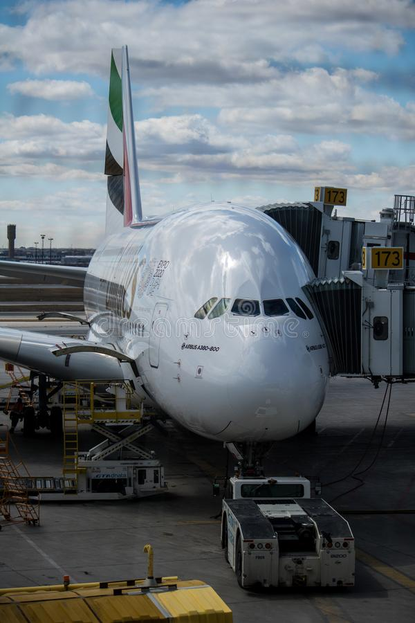 Emirates Airbus A380-800 At Toronto Pearson International Airport royalty free stock image