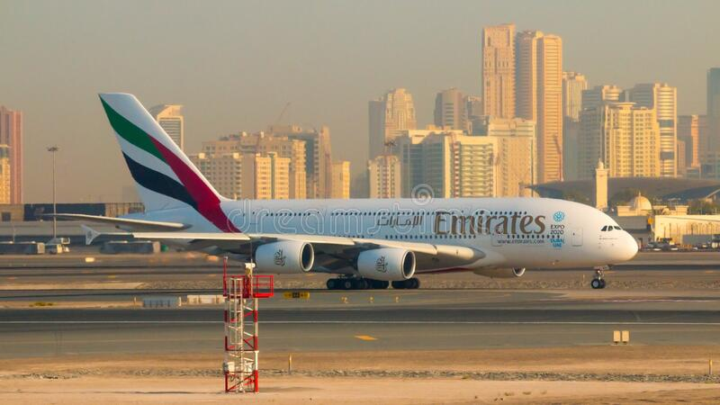 Emirates Airbus A380 take off on Dubai International Airport. stock photography
