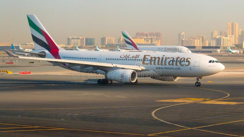 Emirates Airbus take off on Dubai International Airport. stock image