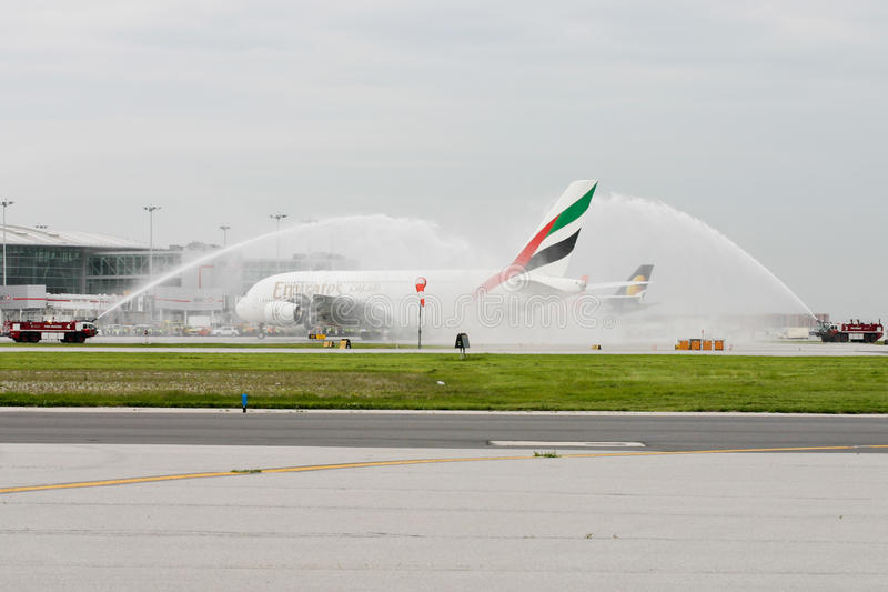 Download Emirates Airlines Airbus A380 Plane Water Salute Editorial Photography - Image of landing, salute: 9630447