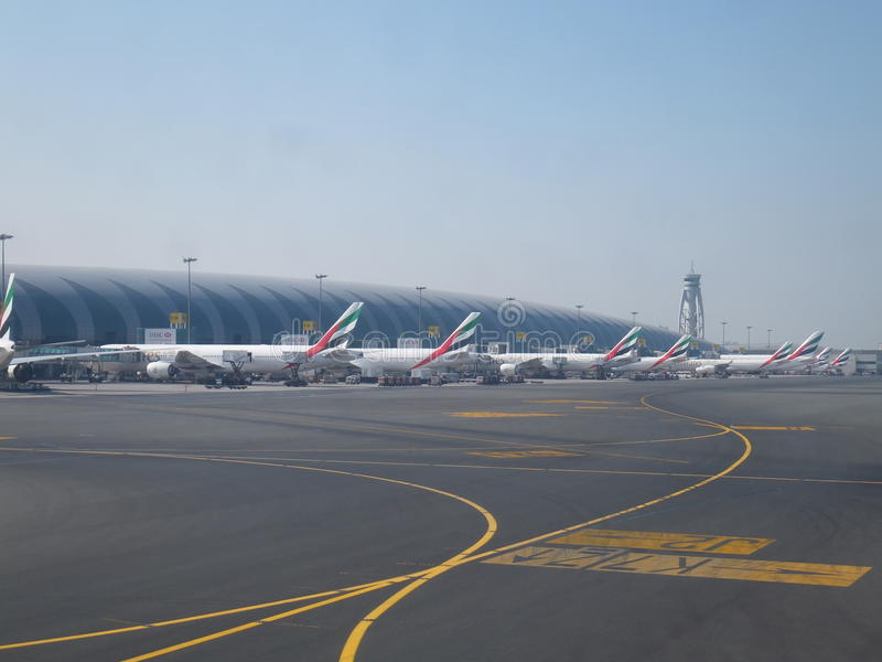 Emirates Airlines terminal at Dubai International Airport royalty free stock photos