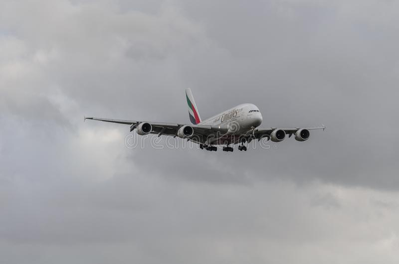 Emirates Airways A380 jet landing at Heathrow. Emirates Airways airbus A380 jet landing at Heathrow, october 2017 landing Gear down stock photos