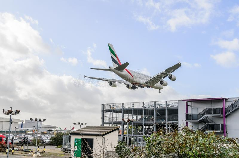 Emirates Airways A380 jet landing at Heathrow. Emirates Airways airbus A380 jet landing at Heathrow, october 2017 landing Gear down stock photography