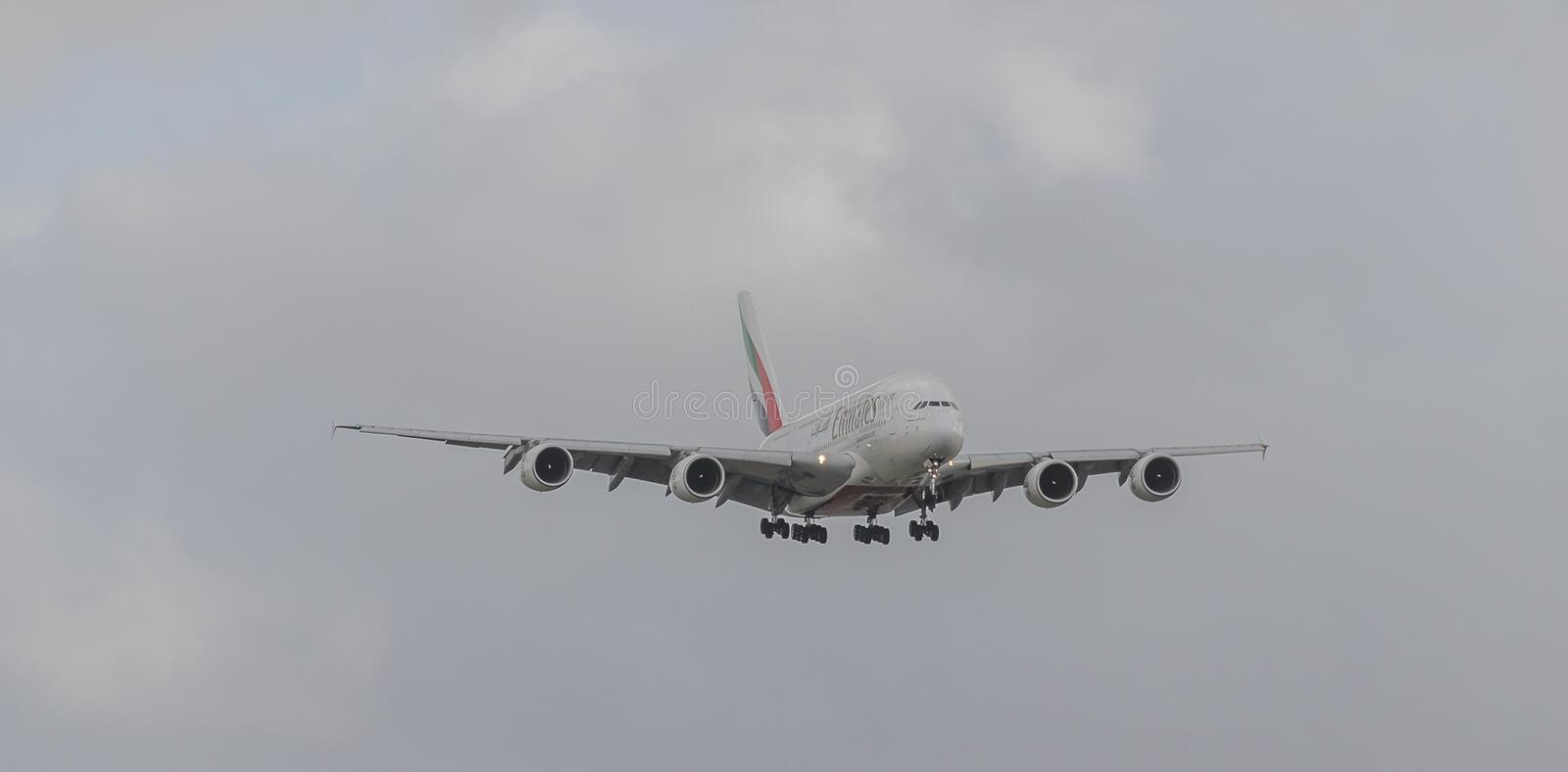 Emirates Airways A380 jet landing at Heathrow. Emirates Airways airbus A380 jet landing at Heathrow, october 2017 landing Gear down stock images