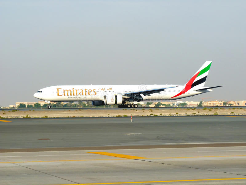 Emirates Boeing 777 during Dubai Air Show stock photos