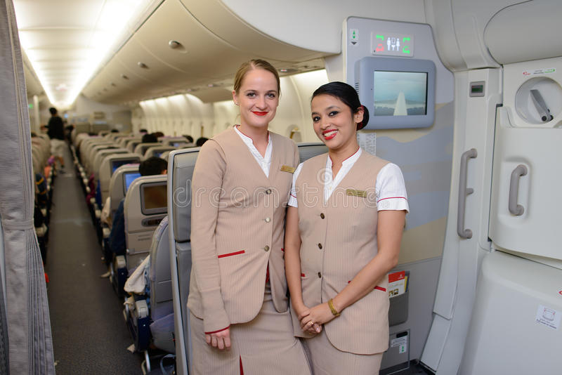 Emirates crew members in Airbus A380 aircraft royalty free stock photo