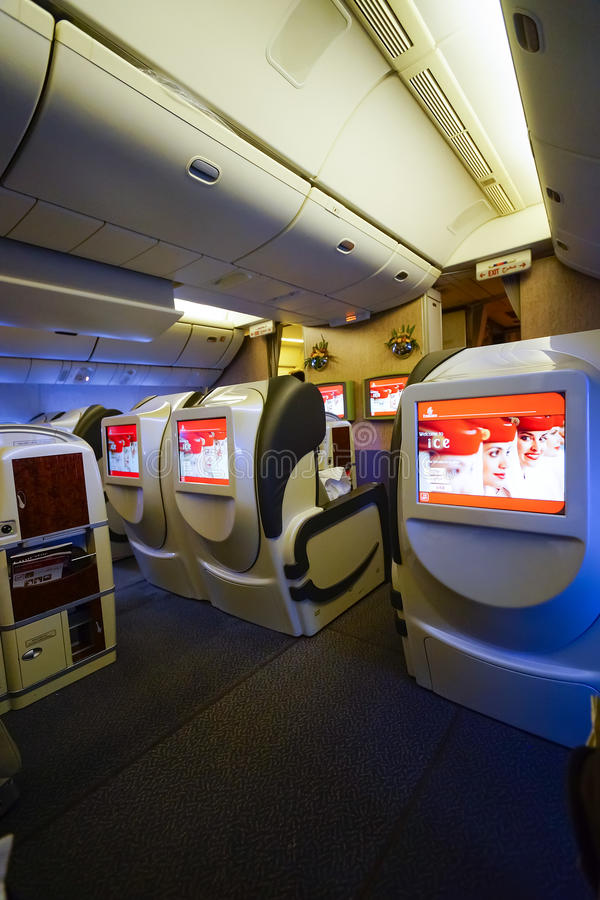 Emirates first class Boeing-777 interior. MOSCOW, RUSSIA - MARCH 30, 2015: Emirates first class Boeing-777 interior. Emirates is one of two flag carriers of the royalty free stock photography