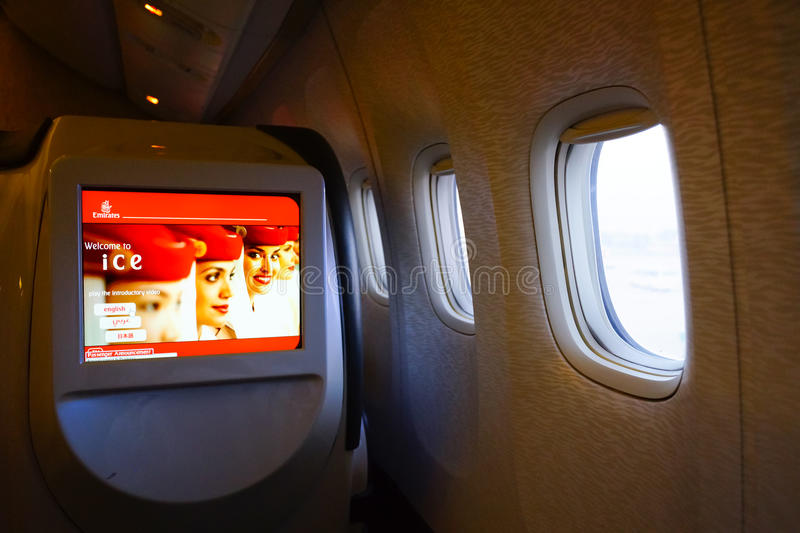 Emirates first class Boeing-777 interior. MOSCOW, RUSSIA - MARCH 30, 2015: Emirates first class Boeing-777 interior. Emirates is one of two flag carriers of the royalty free stock image