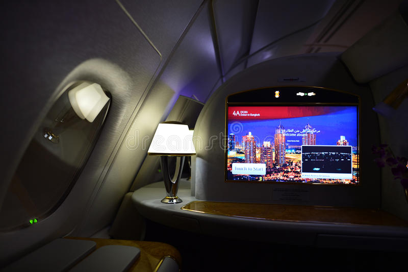 Emirates first class interior. DUBAI, UAE - MARCH 31, 2015: Emirates first class interior. Emirates is one of two flag carriers of the United Arab Emirates along royalty free stock images