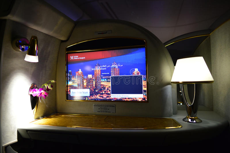 Emirates first class interior. DUBAI, UAE - MARCH 31, 2015: Emirates first class interior. Emirates is one of two flag carriers of the United Arab Emirates along royalty free stock photos