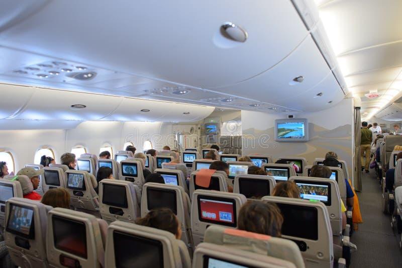 Emirates A380-800 interior stock image
