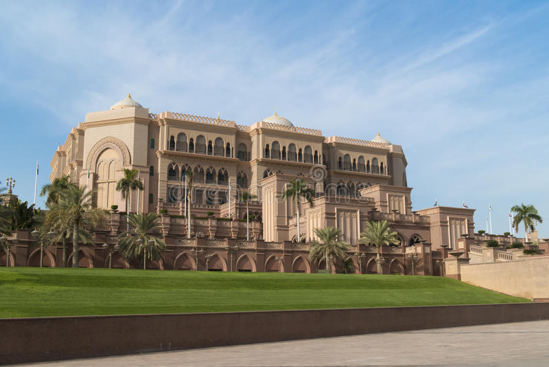 Emirates Palace, Abu Dhabi, the world`s most expensive hotel, seven stars luxury hotel in Abu Dhabi. Blue sky over outstanding  Hotel Emirates Palace, Abu Dhabi stock image