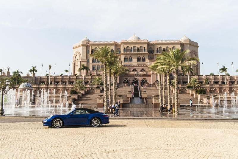 Emirates Palace, Abu Dhabi, the world`s most expensive hotel, seven stars luxury hotel in Abu Dhabi. Blue sky and white feathery clouds over outstanding  Hotel stock images