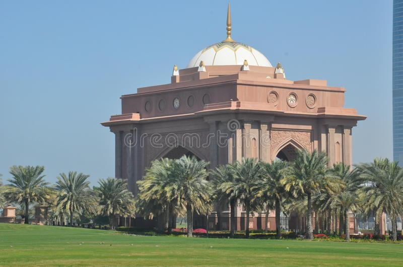 Emirates Palace Hotel in Abu Dhabi, UAE. It is a 7-star hotel built by and owned by the Abu Dhabi government. It is currently managed by the Kempinski Group stock image