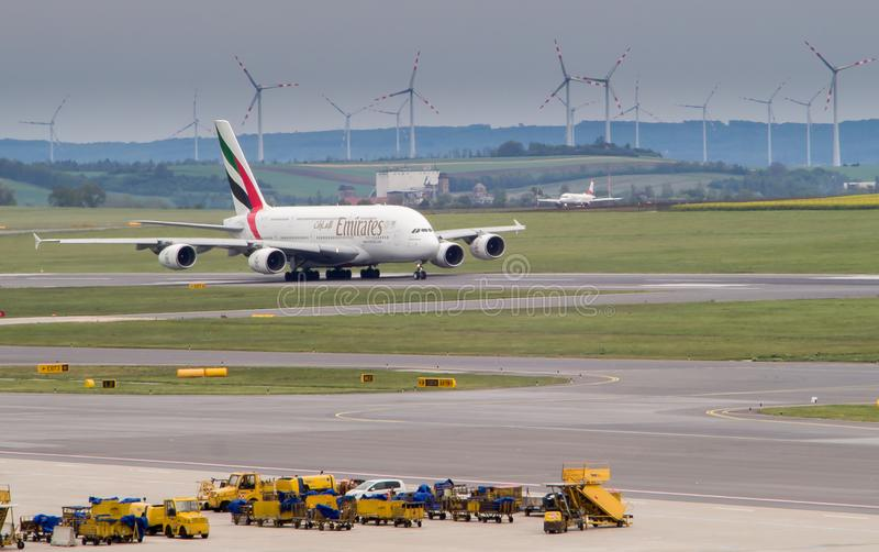 Emirates A380 taking offf royalty free stock photo