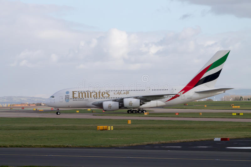Emirates A380 taxiing on Manchester Airport runway royalty free stock photos