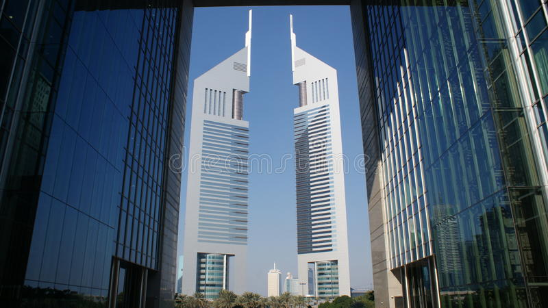 Emirates Towers. The first towers built in Dubai royalty free stock image