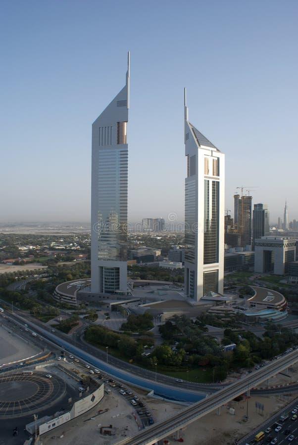 Emirates Towers in Dubai stock images