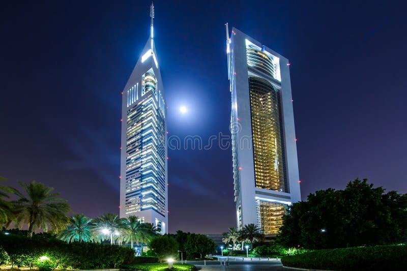 Emirates towers,Dubai,UAE. DUBAI - MAY 11: Emirates Towers at night time, 11 May 2014 in Dubai, UAE. Jumeirah Emirates Towers, Dubai's finest city hotel, is stock images