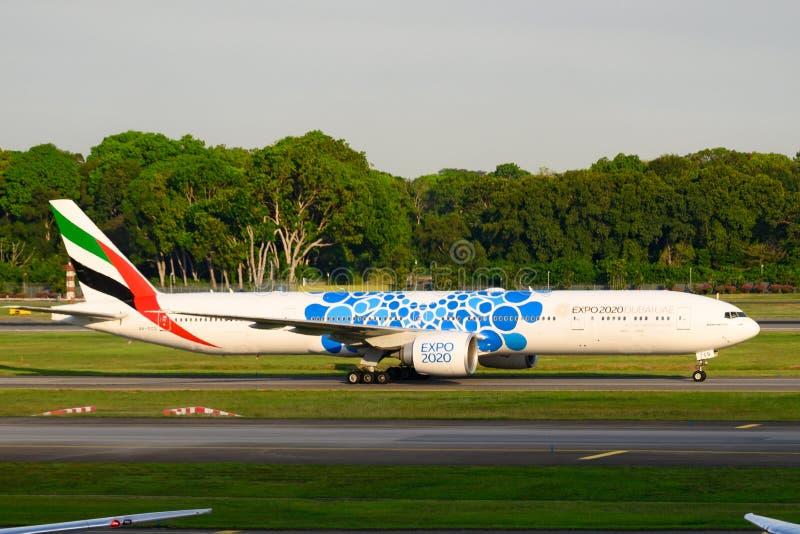 Emirati Boeing 777-300 ER, Expo Dubai 2020 UAE fotografia stock