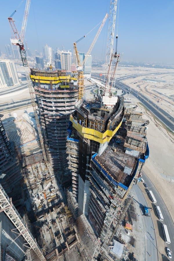 Emiratos Árabes Unidos, Dubai, 05/21/2015, Damac eleva-se Dubai por Paramount, por construção e por construção fotos de stock royalty free