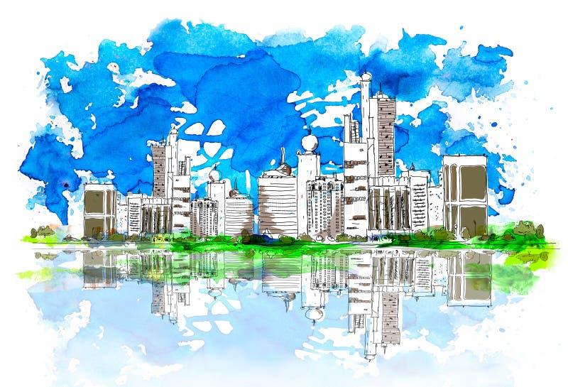 Emiratos Árabes Unidos, fundo artístico do esboço ilustração royalty free