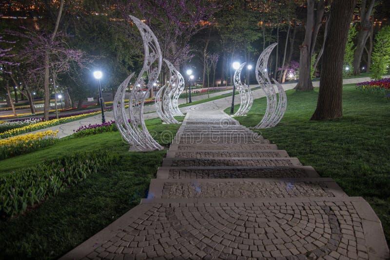 Emirgan Park, Istanbul, Turkey at night 3 stock images