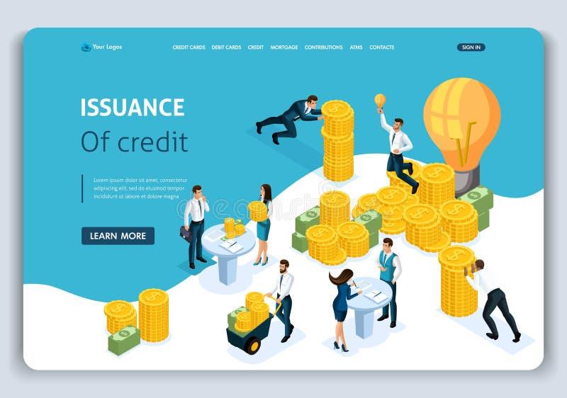 Emisión isométrica del concepto de la página del aterrizaje de la plantilla de la página web del crédito, servicio de atención al libre illustration