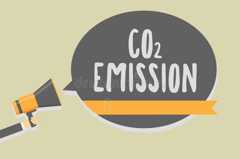Emissão de CO2 da escrita do texto da escrita Liberação do significado do conceito dos gáses de estufa no homem da atmosfera ao l ilustração do vetor