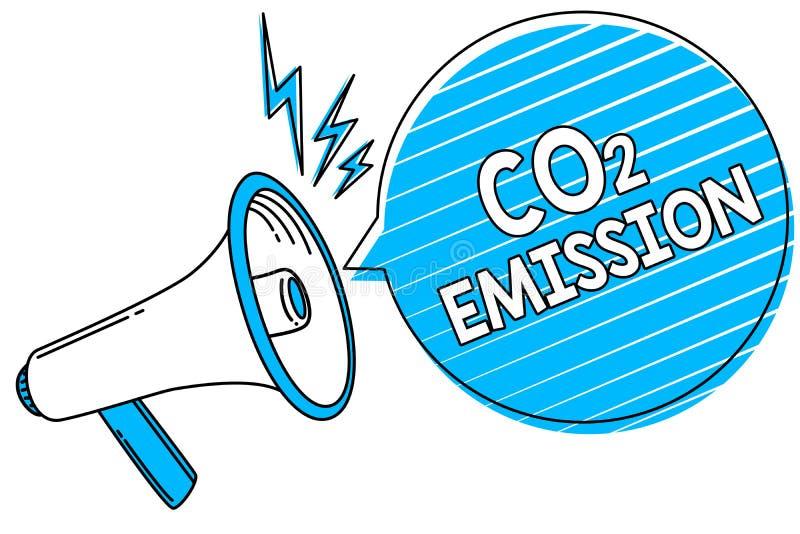 Emissão de CO2 do texto da escrita da palavra Conceito do negócio para liberar-se dos gáses de estufa no loudspe do megafone da a ilustração royalty free